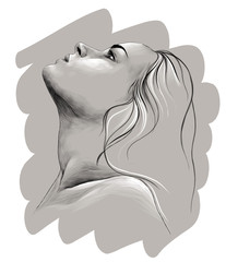 portrait of a girl in profile with her hair down and head up, sketch vector graphic monochrome illustration on grey background