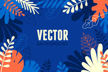 Vector illustration in trendy flat and linear style - abstract simple background with leaves and plants and copy space for text