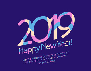Vector modern Greeting Card Happy New Year 2019. Colorful Font with Graphic Style. Rotated elegant Alphabet Letters, Numbers and Symbols