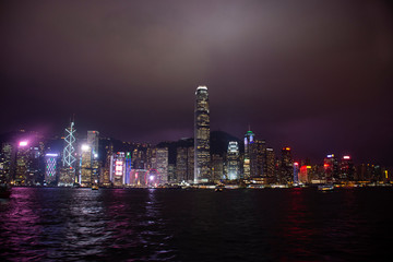 Symphony of Lights is the spectacular light and sound show at Victoria Harbour evening time in Hong Kong, China