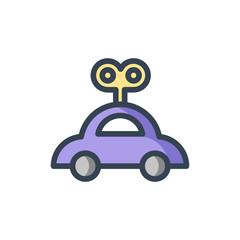 clockwork car icon filled outline style
