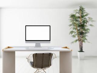 Workplace mockup concept. Mock up modern home decor desktop computer Artist workspace with copy space for products display montage.Mockup desktop.
