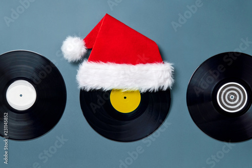 78d9e3699e132 ... greeting card with place for your text. Three black vinyl labels with a  red plush Santa Claus hat