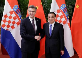 China's Premier Li Keqiang meets Croatia's Prime Minister Andrej Plenkovic in Beijing