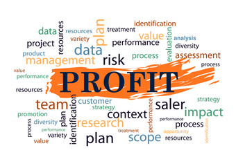 Profit Collage of words Vector illustration