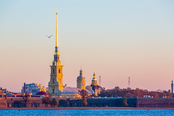 Peter and Paul fortress at morning in Saint Petersburg, St. Petersburg, Russia.