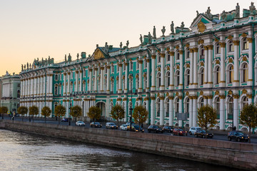 Hermitage palace and Neva river at morning in Saint Petersburg, St. Petersburg, Russia.