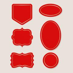 Vintage element banner label and decoration. red badge victorian design.