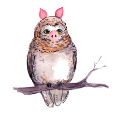 Cute owl bird in piggy costume with pig nose. Unusual funny illustration fo New year design. Watercolor