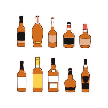 Illustration of alcoholic beverage bottles
