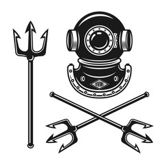 Ancient diving helmet with tridents vector objects