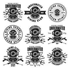 Diving school set of nine vector black emblems