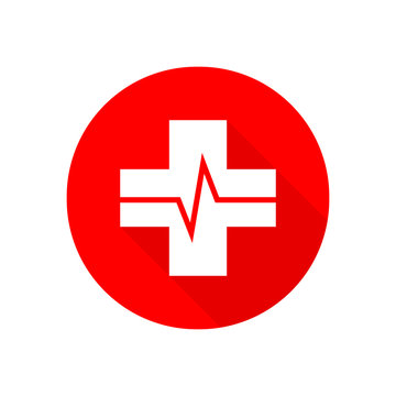 Medical cross with heartbeat icon. Vector illustration.