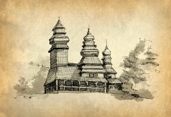 Sketch of wooden church