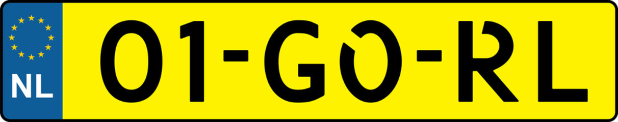 vehicle licence plates marking in Netherlands