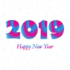 2019 Happy New Year. Vector illustration.