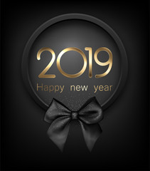 Happy New Year 2019 card with black satin bow.
