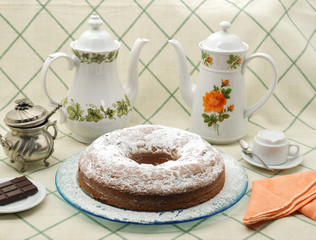 Chocolate fudge cake with icing sugar