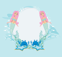 Cute card for girls with mermaid