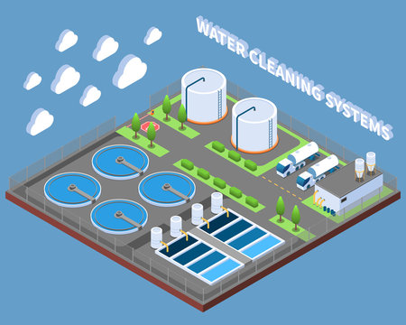 Water Cleaning Systems Isometric Composition