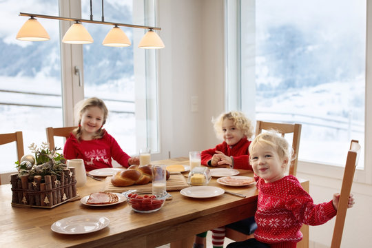 Kids breakfast in winter. Christmas meal at home.