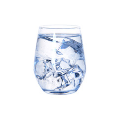 Glass of cold fresh water with ice on white background
