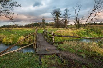 Landscape with Jeziorka river at clody day near Piaseczno, Masovia, Poland