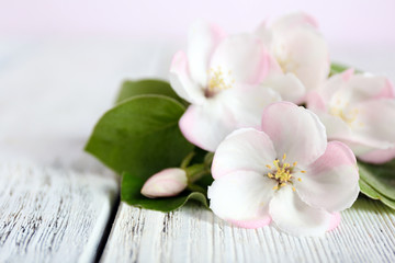 Apple blossom with leaves on wooden table