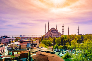 Minarets and domes of Blue Mosque with Bosporus and Marmara sea in background, Istanbul, Turkey.