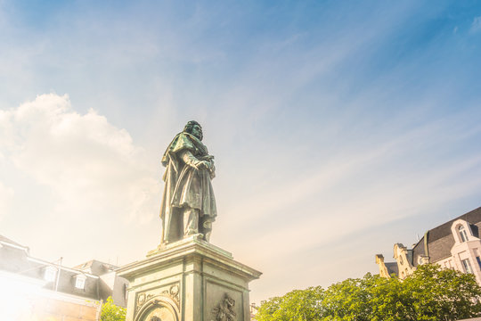 The Beethoven Monument on the in Bonn, Germany