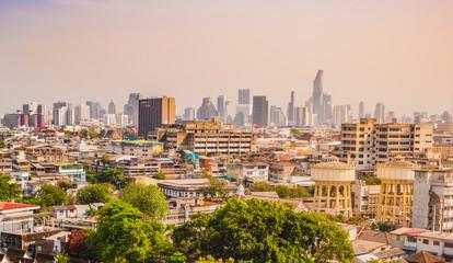 Bangkok city buildings cityscape, high buildings panorama downtown of Bangkok City Thailand.