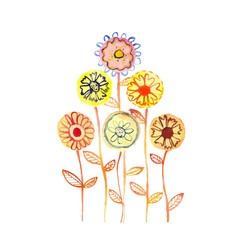 Watercolor pastel flowers. Hand drawn vector illustration