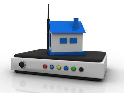 3d rendering Transmitter WiFi in home
