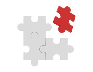 Red jigsaw puzzle among white puzzles in different concept, pattern texture on white background. 3d business illustration