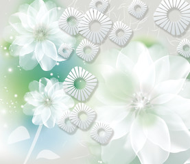 Light background with white fabulous flowers, white paper rhombuses with carved sun