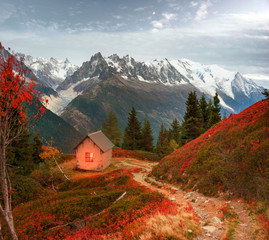 Fototapete - Red autumn Chamonix in the Alps