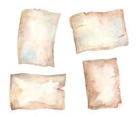 Collection of watercolor aged papers.
