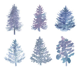 Collection of watercolor blue firs.