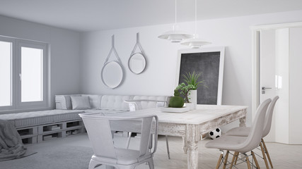 Unfinished project draft, scandinavian minimalistic living room with DIY pallet sofa and vintage dining table, contemporary architecture interior design