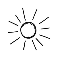 sun icon. Isolated sketch for infographic object on light background.