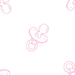 Baby nipple seamless pattern. Vector illustration seamless pattern of dummy for a child. Hand drawn pacifier.