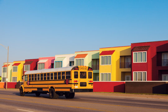 Colorful apartments by the beach in Galveston