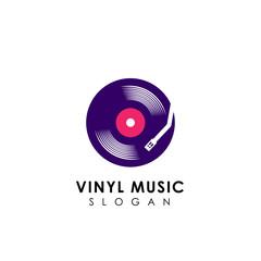 vinyl disc vector icon design. vinyl music logo design template