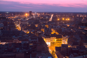 Aerial panorama of Hasselt at night