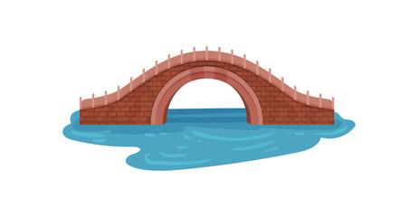 Old brick bridge over blue river. Arch footbridge. Landscape element for city park. Architecture theme. Flat vector design
