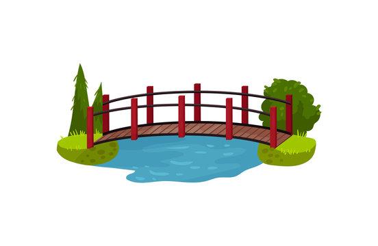 Wooden bridge over blue pond or river. Timber footbridge, green trees, bush and grass. Landscape element. Flat vector design