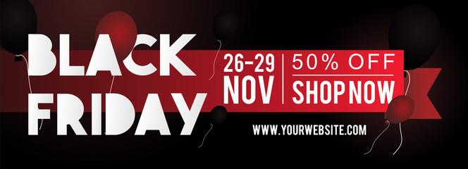 Black friday sale banner layout design for web and print. Modern design vector illustration.