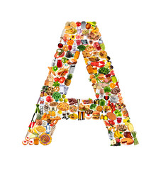 FOODFONT LETTER A ON WHITE