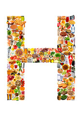 FOODFONT LETTER H ON WHITE