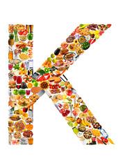 FOODFONT LETTER K ON WHITE